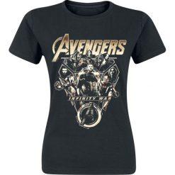 Avengers Infinity War - Avengers Team Koszulka damska czarny. Czarne bluzki asymetryczne Avengers, xxl, z motywem z bajki, z okrągłym kołnierzem. Za 54,90 zł.