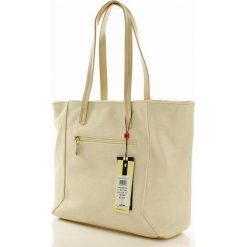 Miejska torba ze spinanymi bokami beżowa SYDNEY. Brązowe torebki klasyczne damskie Monnari, w paski, ze skóry ekologicznej. Za 169,00 zł.