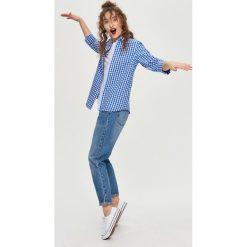 Koszula w kratę - Niebieski. Białe koszule damskie marki Sinsay, l, z napisami. W wyprzedaży za 29,99 zł.