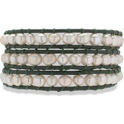 Bransoletki damskie na nogę: Skórzana bransoletka w kolorze oliwkowym z hodowlanymi perłami słodkowodnymi