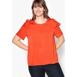 Bluzki asymetryczne: Bluzka z okrągłym dekoltem, z falbankami na ramionach i krótkim rękawem