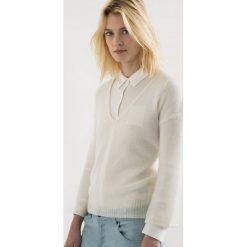 Sweter w serek ażurowy. Szare kardigany damskie marki La Redoute Collections, m, z bawełny, z kapturem. Za 136,50 zł.