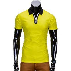 KOSZULKA MĘSKA POLO BEZ NADRUKU S664 - ŻÓŁTA. Zielone koszulki polo marki Ombre Clothing, na zimę, m, z bawełny, z kapturem. Za 35,00 zł.