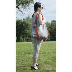 Torba hobo XXL - szary, pomarańcz. Szare torebki klasyczne damskie marki Pakamera, z syntetyku. Za 129,00 zł.