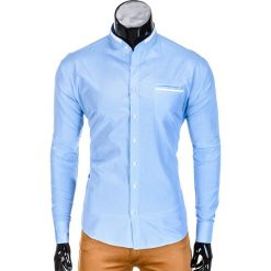 KOSZULA MĘSKA ELEGANCKA Z DŁUGIM RĘKAWEM K389 - BŁĘKITNA. Niebieskie koszule męskie na spinki Ombre Clothing, m, z materiału, z kontrastowym kołnierzykiem, z długim rękawem. Za 59,00 zł.