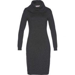 Sukienka dzianinowa bonprix antracytowy melanż. Szare sukienki dzianinowe marki bonprix, melanż, z golfem. Za 109,99 zł.