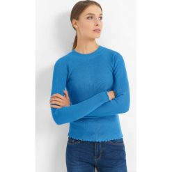 Prążkowany sweter. Niebieskie swetry klasyczne damskie Orsay, xs, z dzianiny, z okrągłym kołnierzem. Za 69,99 zł.