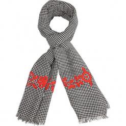 """Szal """"Emby"""" w kolorze czarno-czerwonym - 180 x 70 cm. Czarne szaliki damskie Scottage, z haftami, z bawełny. W wyprzedaży za 45,95 zł."""