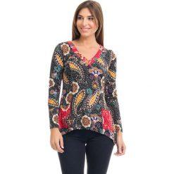 Bluzki asymetryczne: Koszulka w kolorze czarnym ze wzorem