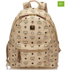 Plecaki damskie: Skórzany plecak w kolorze beżowym – 27 x 33 x 13 cm