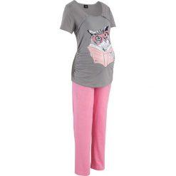 Bielizna ciążowa: Piżama do karmienia bonprix szaro-jasnoróżowy