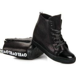 Buty ślubne damskie: Czarne trampki na koturnie HALEY