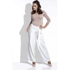 Spodnie z wysokim stanem: Ecru Spodnie Eleganckie Szerokie z Wiązaniem na Boku