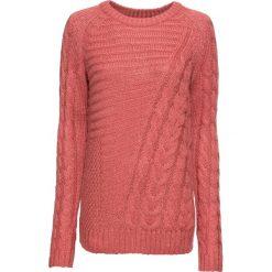 Swetry klasyczne damskie: Sweter dzianinowy bonprix rabarbarowy melanż