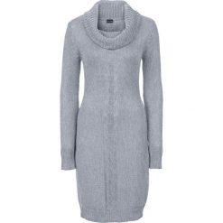 Sukienka dzianinowa z golfem bonprix szary melanż. Szare sukienki dzianinowe marki bonprix, melanż, z golfem. Za 89,99 zł.