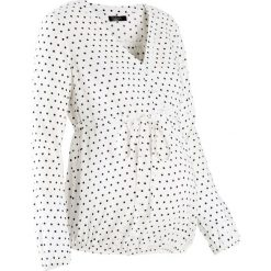 Bluzka ciążowa bonprix biało-czarny w kropki. Białe bluzki ciążowe marki bonprix, w kropki, z wiskozy, biznesowe, z dekoltem w serek, moda ciążowa, z krótkim rękawem. Za 74,99 zł.