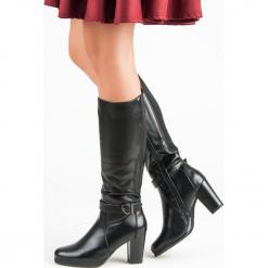 OCIEPLANE KOZAKI NA SŁUPKU. Czarne buty zimowe damskie FILIPPO, na słupku. Za 177,90 zł.