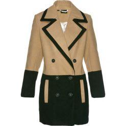 Płaszcze damskie: Krótki płaszcz z materiału w optyce wełny bonprix czarno-cappuccino