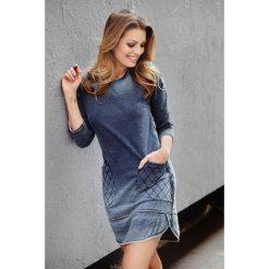 Sukienka cieniowana a'la jeans a165-2. Niebieskie sukienki na komunię marki SaF, na co dzień, xl, z żakardem, z asymetrycznym kołnierzem, dopasowane. W wyprzedaży za 109,00 zł.