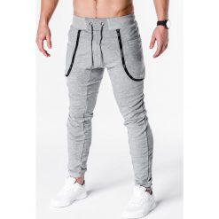 SPODNIE MĘSKIE DRESOWE P426 - SZARE. Szare joggery męskie marki Lacoste, z gumy, na sznurówki, thinsulate. Za 29,00 zł.