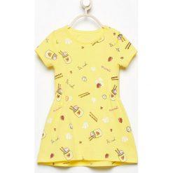 Odzież dziewczęca: Bawełniana sukienka z nadrukiem - Żółty