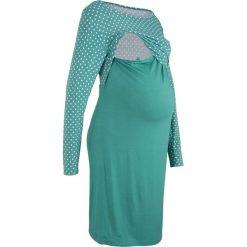 Sukienka shirtowa ciążowa i do karmienia bonprix dymny szmaragdowy. Niebieskie sukienki ciążowe bonprix, w kropki, z dekoltem w łódkę. Za 59,99 zł.