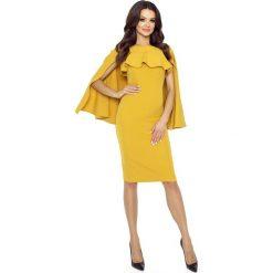 Odzież damska: Miodowa Sukienka z Rozciętą Narzutką