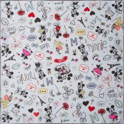 """Chusty damskie: Chusta """"Micki and Minni"""" w kolorze szarym ze wzorem – 53 x 53 cm"""