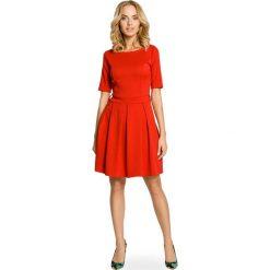 Sukienki: Czerwona Szeroka Sukienka z Rękawem do Łokcia