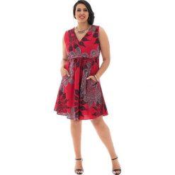 Odzież damska: Sukienka w kolorze czarno-czerwono-szarym