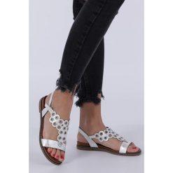 169a79440596c8 Białe sandały płaskie ażurowe z kryształkami Sergio Leone SK012. Białe  sandały damskie Sergio Leone,