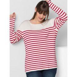 Swetry klasyczne damskie: Sweter w kolorze kremowo-czerwonym