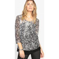 Bluzki asymetryczne: Koronkowa bluzka z nadrukiem