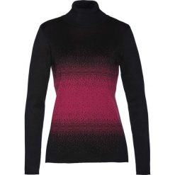 Sweter z golfem bonprix czarno-jeżynowy. Czarne golfy damskie bonprix. Za 74,99 zł.