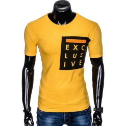 T-SHIRT MĘSKI Z NADRUKIEM S882 - ŻÓŁTY. Zielone t-shirty męskie z nadrukiem marki Ombre Clothing, na zimę, m, z bawełny, z kapturem. Za 29,00 zł.