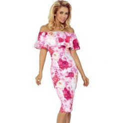 Giovanna Sukienka hiszpanka - RÓŻOWE RÓŻE. Szare sukienki hiszpanki marki Molly.pl, l, w koronkowe wzory, z koronki, eleganckie, z dekoltem typu hiszpanka, z krótkim rękawem, midi, dopasowane. Za 189,99 zł.