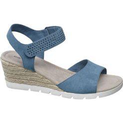 Sandały damskie Graceland niebieskie. Czarne sandały damskie marki Graceland, w kolorowe wzory, z materiału. Za 89,90 zł.