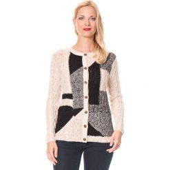 Sweter rozpinany w kolorze beżowo-czarnym. Brązowe kardigany damskie marki William de Faye, z kaszmiru. W wyprzedaży za 132,95 zł.