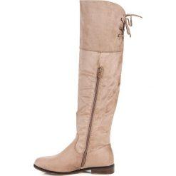 Buty zimowe damskie: BEŻOWE KOZAKI Z WIĄZANIEM