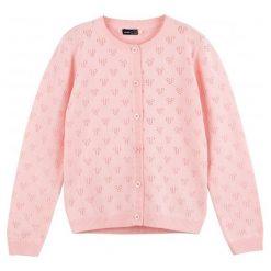 Swetry dziewczęce: Ażurowy, rozpinany sweter dla dziewczynki