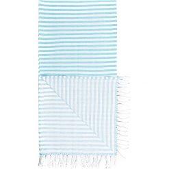 Kąpielówki męskie: Chusta hammam w kolorze turkusowo-białym – 180 x 100 cm