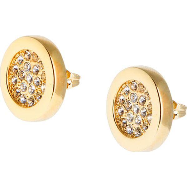 92a9d7bcabd0 Pozłacane kolczyki-wkrętki z kryształkami Swarovski - Żółte kolczyki ...