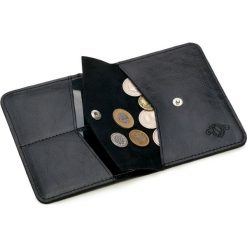 Cienki skórzany męski portfel z bilonówką SOLIER  SLIM CZARNY. Czarne portfele męskie marki Solier, z materiału. Za 79,90 zł.