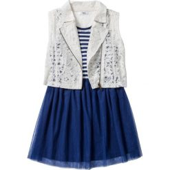 Sukienka + kamizelka koronkowa (2 części) bonprix kobaltowo-biel wełny w paski. Niebieskie kamizelki dziewczęce marki bonprix, w paski, z koronki. Za 59,99 zł.