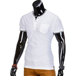 T-SHIRT MĘSKI BEZ NADRUKU S667 - BIAŁY. Białe t-shirty męskie z nadrukiem marki Ombre Clothing, m, z bawełny, ze stójką. Za 35,00 zł.
