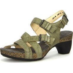 """Rzymianki damskie: Skórzane sandały """"Traudi"""" w kolorze oliwkowym"""