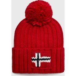 Napapijri - Czapka. Czerwone czapki zimowe męskie marki Napapijri, na zimę, z dzianiny. Za 189,90 zł.