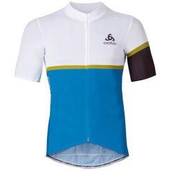 Odlo Koszulka męska Stand-up collar s/s full zip KAMIKAZE biało-niebieska r. L (411162). Białe koszulki sportowe męskie marki Odlo, l. Za 339,95 zł.