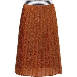 Spódnica bonprix miedziany z lureksową nitką. Brązowe spódnice wieczorowe bonprix, w paski, z dzianiny. Za 109,99 zł.