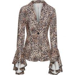 Żakiet z rękawami z falbanami, w cętki leoparda bonprix brązowo-beżowy leo. Brązowe marynarki i żakiety damskie marki bonprix. Za 99,99 zł.
